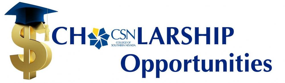 CSN Scholarship Banner with dollar sign with graduation cap on top of it.