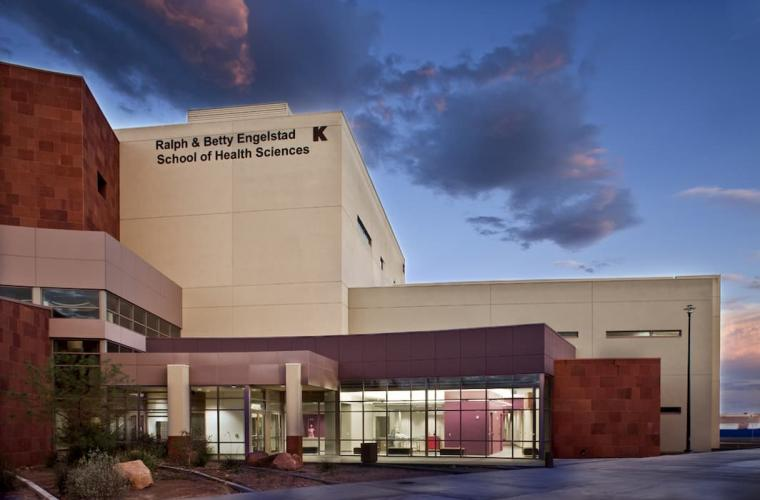 Health Sciences Building in the evening at Charleston Campus