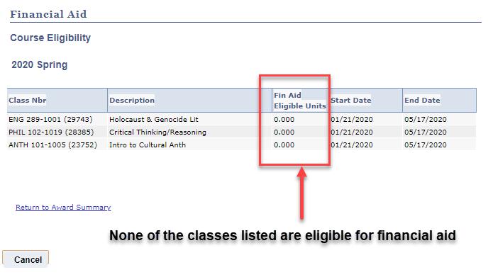 Screenshot of Ineligible Courses.