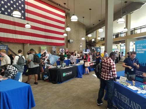 Job seekers meeting with employers at the North Las Vegas Career Fair.