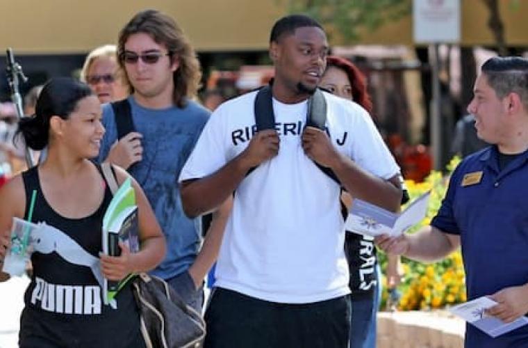 Group receiving a campus tour