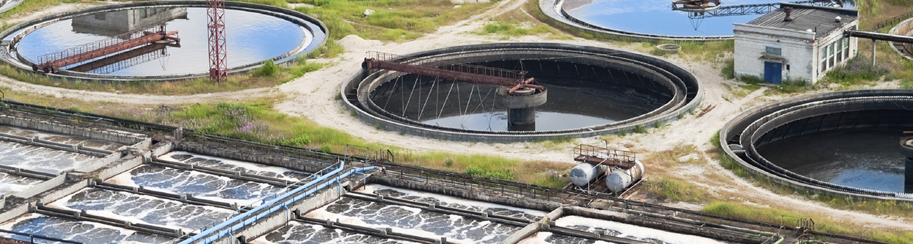 Aerial view of a waste water treatment facility