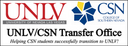 UNLV and CSN Transfer Office graphic, Helping CSN students successfully transfer to UNLV