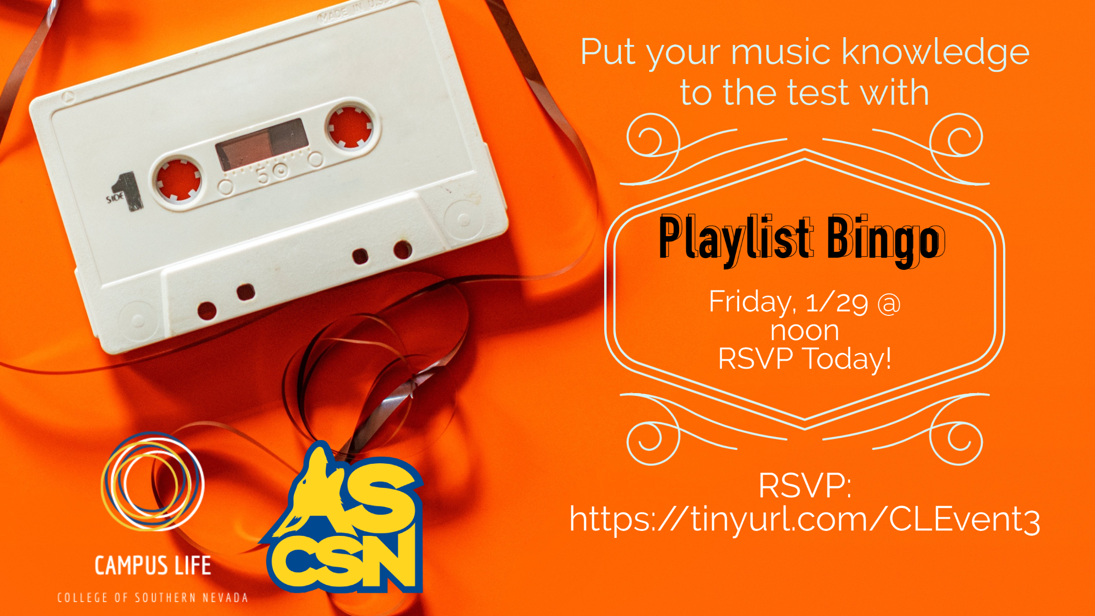 cassette tape with bingo event date and time