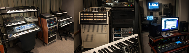 Audio Recording Control Room Keyboards and Equipment