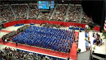 Overhead view of graduates at graduation ceremony.