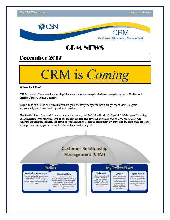 CRM December Newsletter