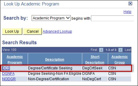 Choose DCS option in Look Up Academic Program