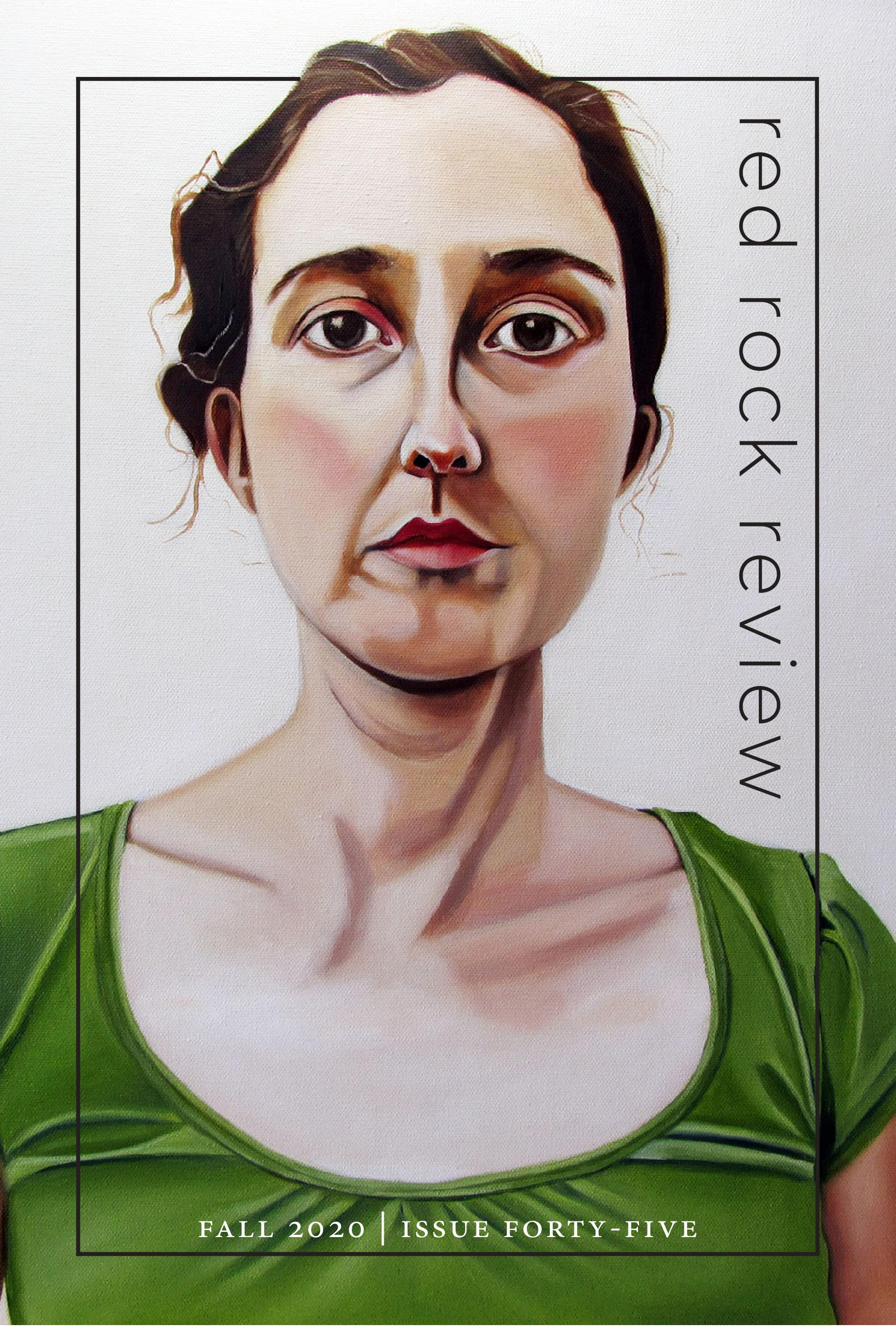 Red Rock Review cover graphic, Fall 2020, Issue 45, portrait of a woman in green