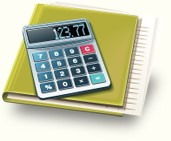 Image of a calculator placed on top of a binder.