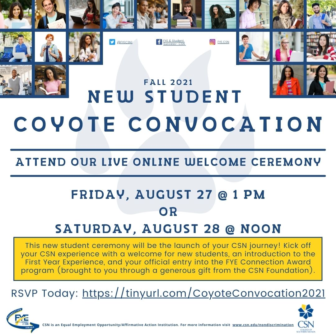 New student coyote convocation 2021 flyer