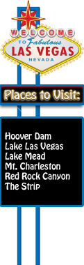 Welcome to Las Vegas sign. Places to visit: Hoover Dam, Lake Las Vegas, Lake Mead, Mt. Charleston, Red Rock Canyon, and The Strip