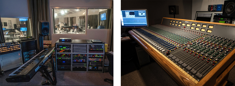 Audio Recording Control Room and Trident Mixing Board