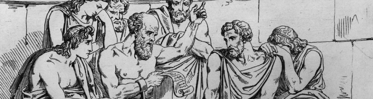 Pencil drawing of ancient roman people sitting, listening to a man read a scoll