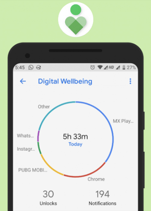 Image of digital wellbeing tracker on smartphone