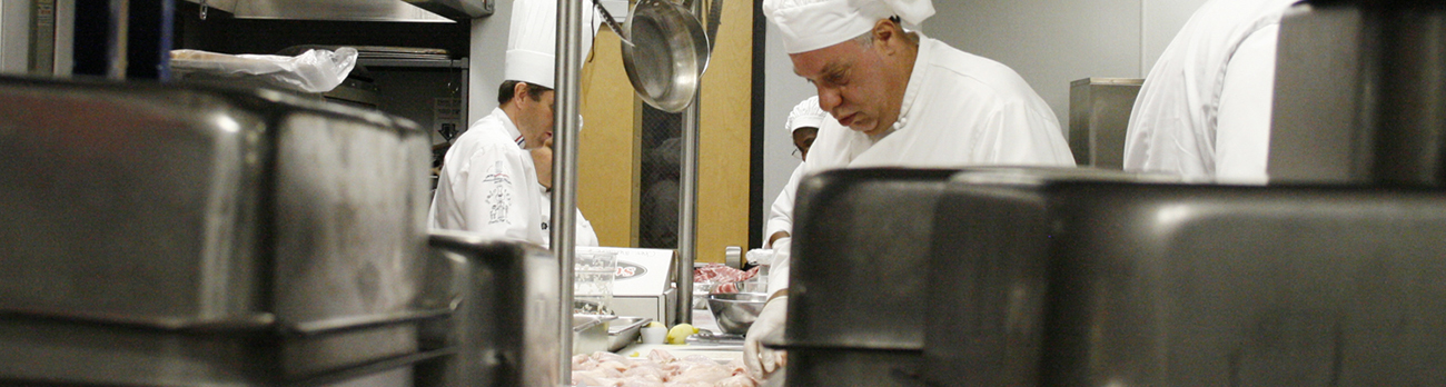 Chefs preparing food in the CSN culinary kitchen
