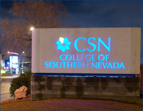 CSN sign illuminated
