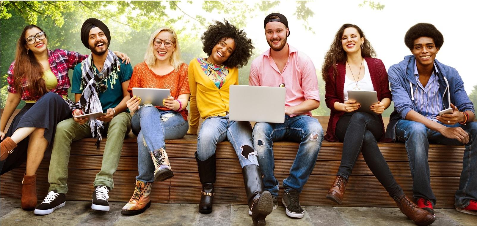 several students sitting together