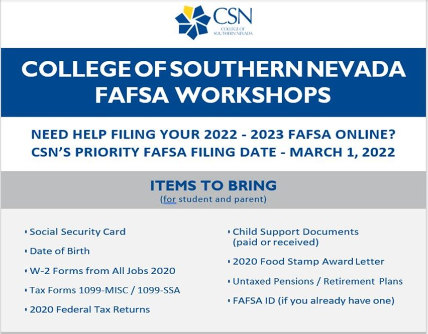 FAFSA Workshops Oct - Dec 2021