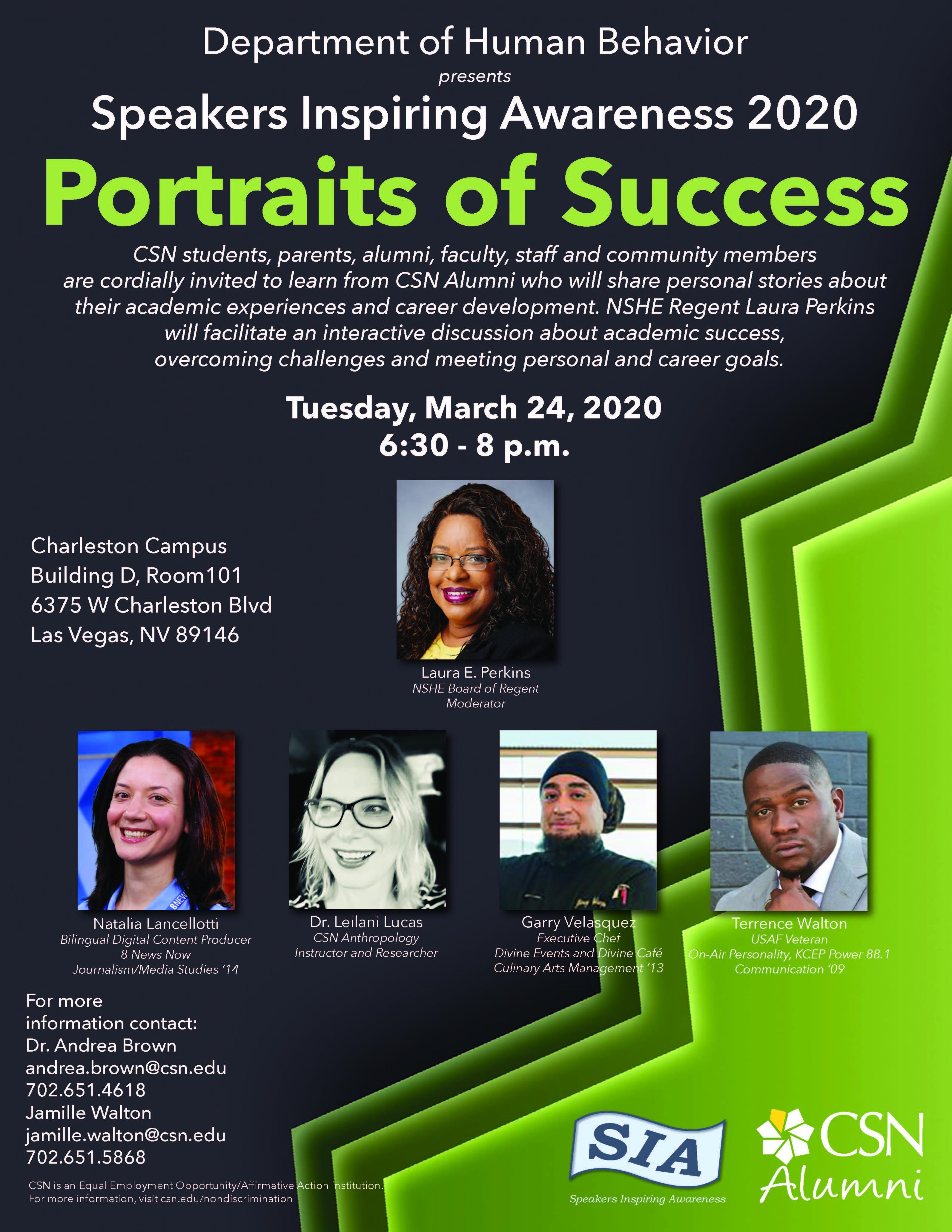 Speaker Inspiring Awareness 2020 Portraits of Success Flyer