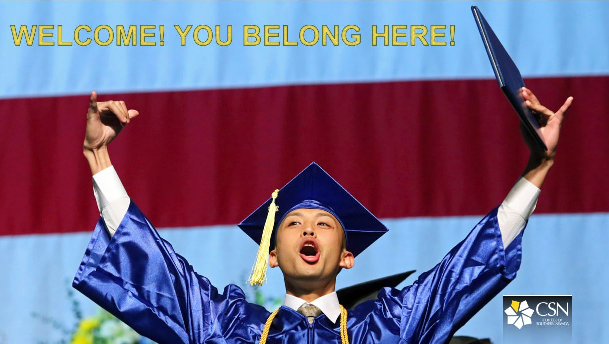 Picture of a CSN graduate cheering at graduation