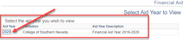 Screenshot of MYCSN screen with arrow pointing to 2020 aid year.