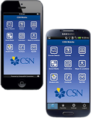 iPhone and Adroid phone displaying the CSN mobile application