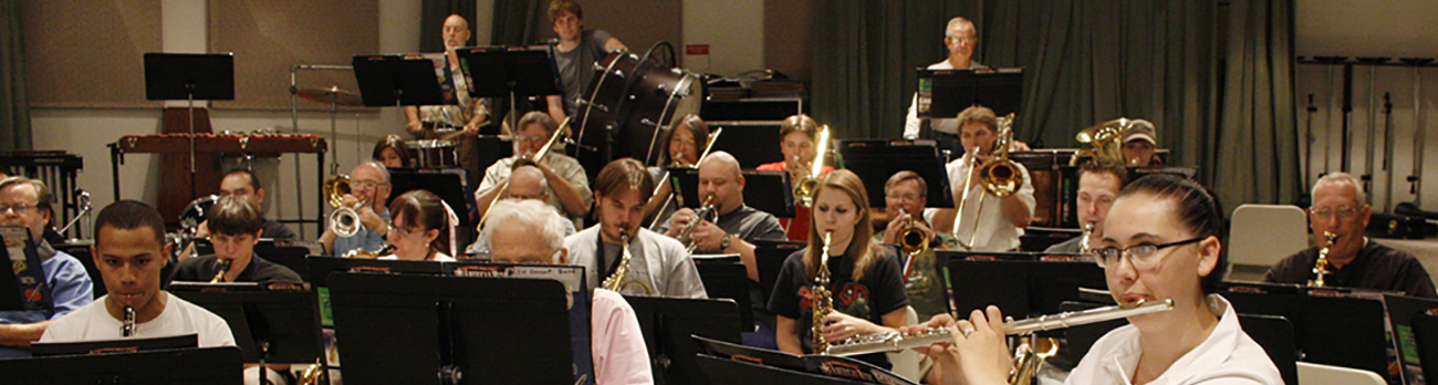 Students playing music in the CSN band room