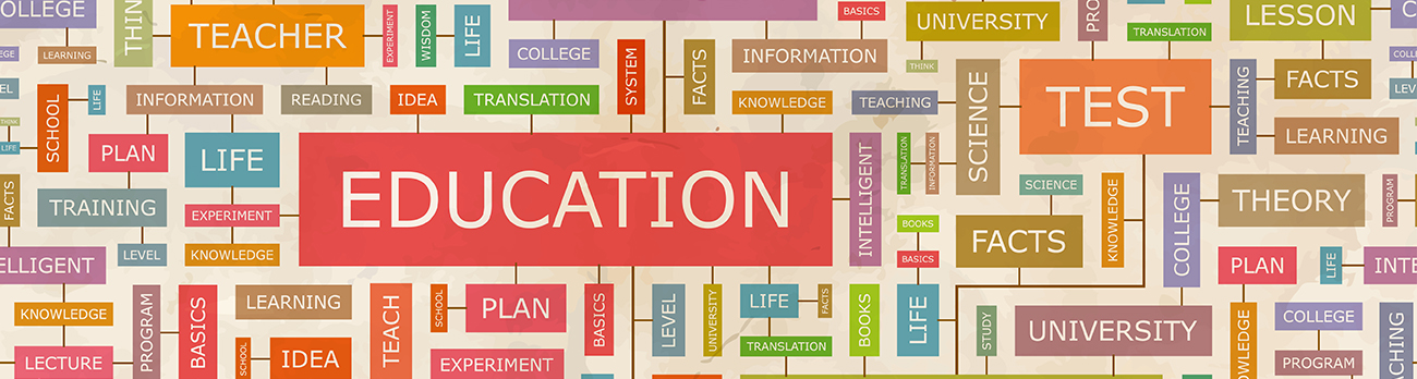 Graphic of grid of words all tied to the main word Education
