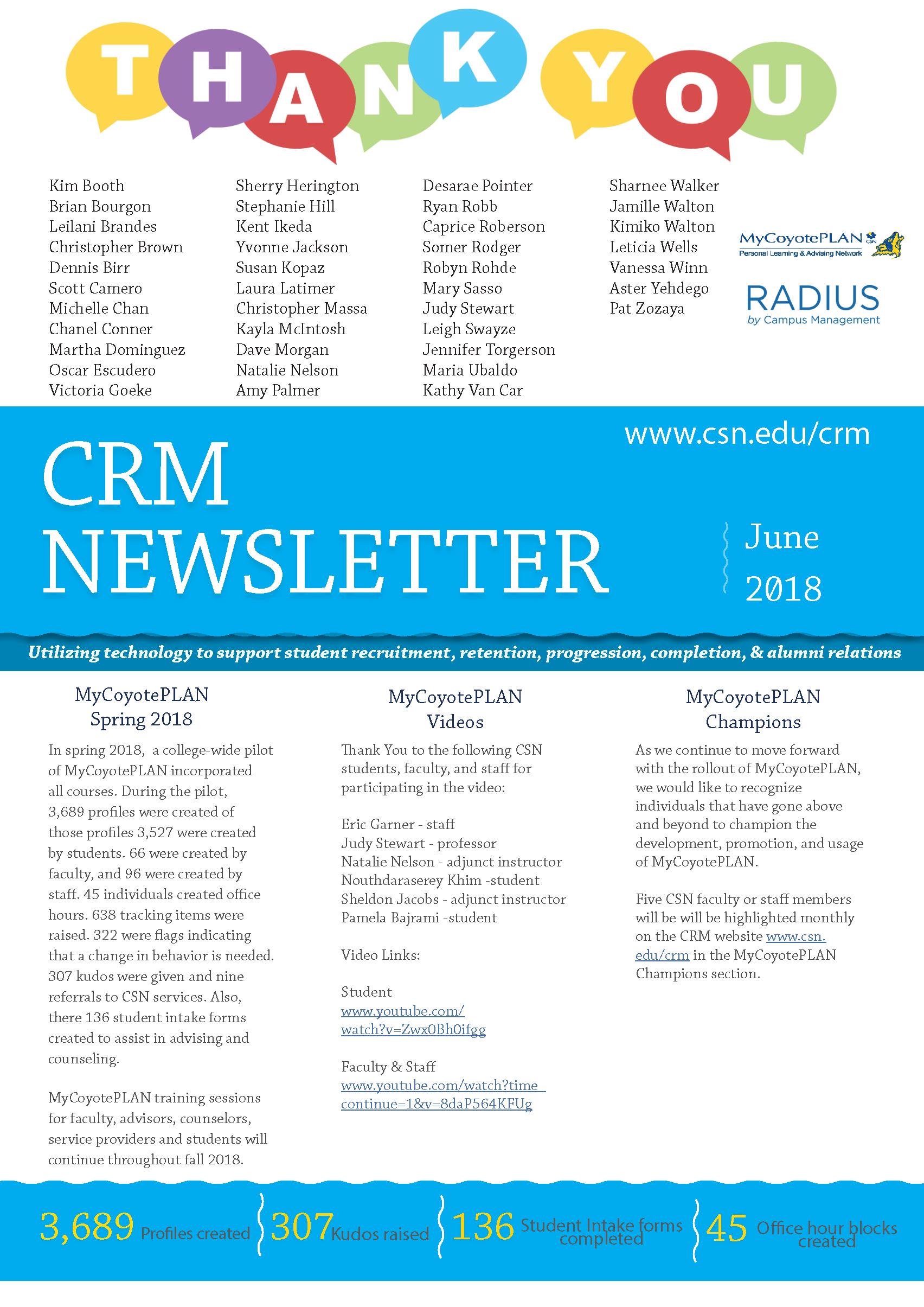 June 2018 CRM Newsletter