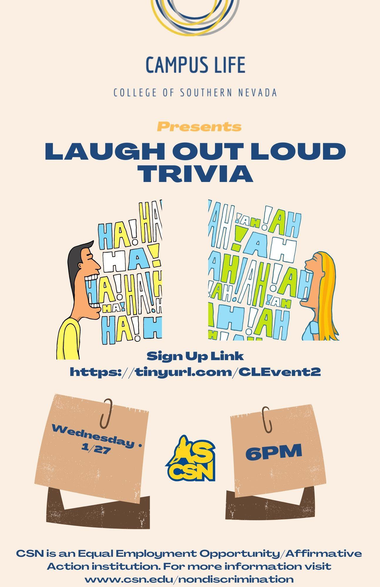Laugh out loud trivia with two laughing faces