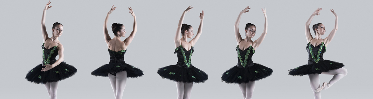 A ballerina in various of her spinning