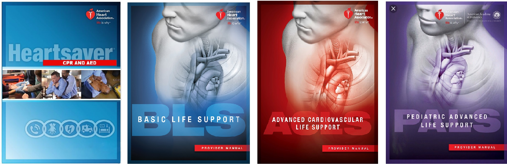 Cover images of the American Heart Association Manuals