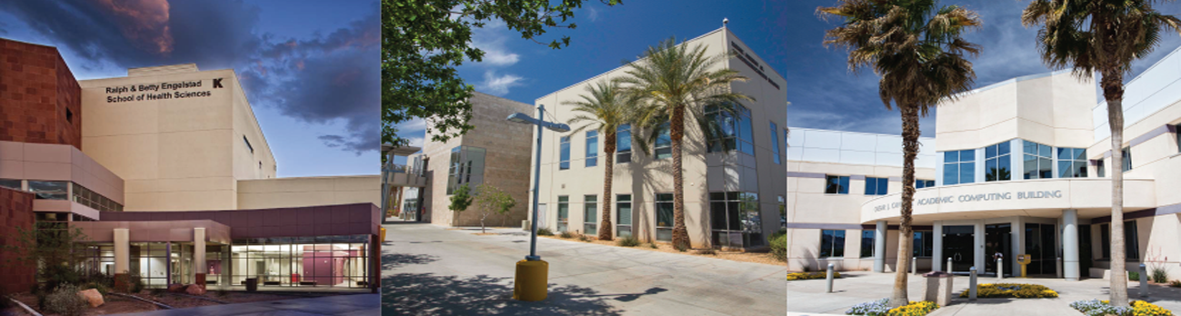 Picture collage of CSN buildings on the Charleston campus