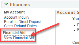 Screenshot of MYCSN Finances screen with arrow pointing to View Financial Aid.