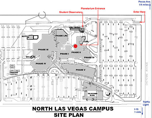 CSN North Las Vegas campus map with directions to the planetarium
