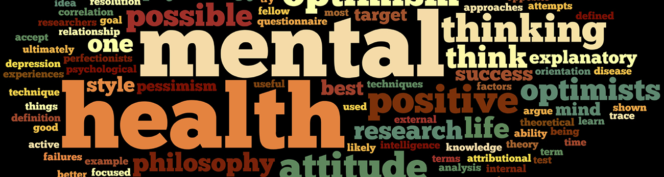 Word Cloud banner with mental, health, thinking and many other words relating to mental health