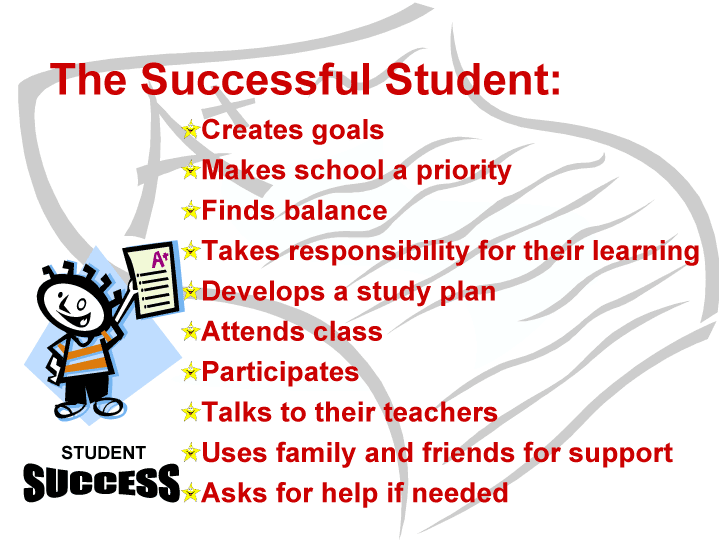 The Successful Student: Creates goals, Makes school a priority, Finds balance, Takes responsibility for their learning, Develops a study plan ,Attends class, Participates, Talks to their teachers, Uses family and friends for support, Asks for help if needed.